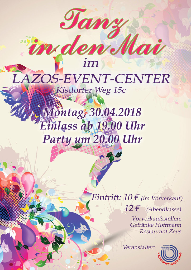 Tanz in den Mai am 30. April 2018 ab 19.00 Uhr im Lazos-Event-Center
