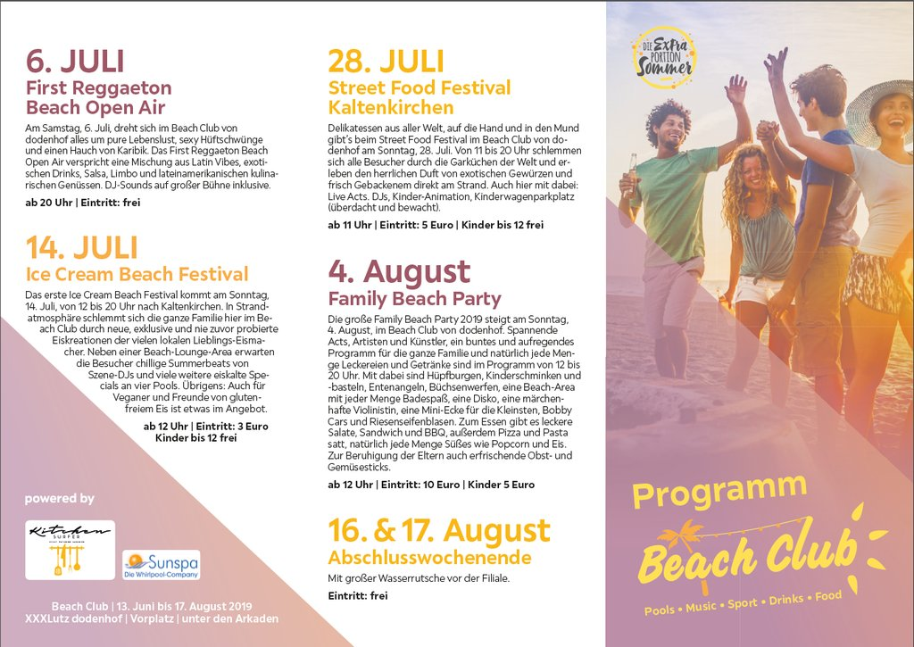 Beach-Club-Programm Flyer